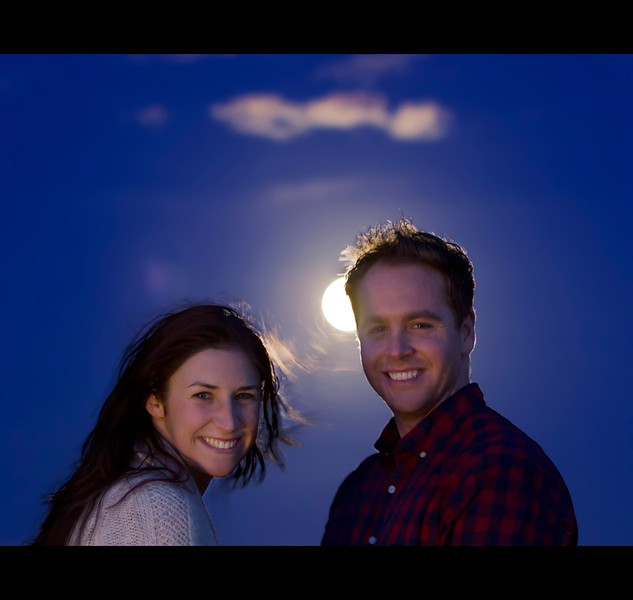 Selene and Friends: Fun spur of the moment photo taken for two very cool people I met while hunting supermoons.  Previously mentioned moon is doing the lighting from behind.  Might cheat and add a better detailed moon to this shot later.  3 exposures for background + 1 for the subjects.  Lighting provided by mobile illumination specialists aka their friends headlights while holding up traffic.