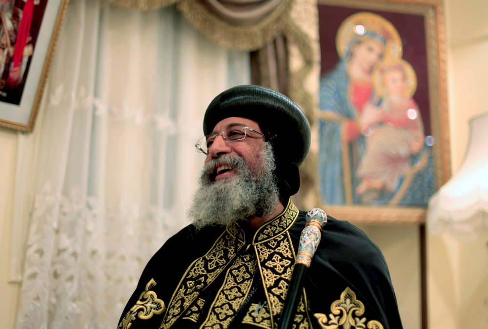 . Egypt\'s Coptic Christian Pope Tawadros II speaks to the Associated Press during a visit to the historic al-Muharraq Monastery, a centuries-old site some 180 miles (300 kilometers) south of Cairo in the province of Assiut, Egypt, Tuesday, Feb. 5, 2013. Egypt\'s Coptic Christian pope sharply criticized the country\'s Islamist leadership in an interview with The Associated Press on Tuesday, saying the new constitution is discriminatory and Christians should not be treated as a minority. (AP Photo/Khalil Hamra)