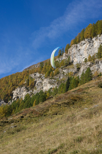 One of the Swiss Semester students, Gabe, doing a few acrobatics while paragliding
