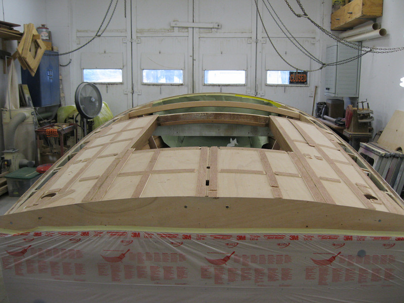 Rear view of plywood installed on the deck.