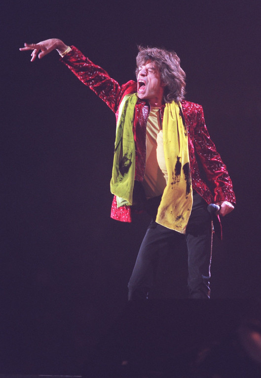 """. Rolling Stones lead singer Mick Jagger wows the crowd during the band\'s opening song, \""""I Can\'t Get No Satisfaction,\"""" at The Pontiac Silverdome."""