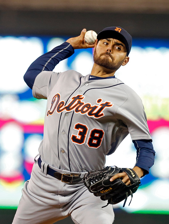 . Detroit Tigers pitcher Joakim Soria throws against the Minnesota Twins in the ninth inning of a baseball game, Monday, April 27, 2015, in Minneapolis. Soria picked put the save in the Tigers\' 5-4 win. (AP Photo/Jim Mone)