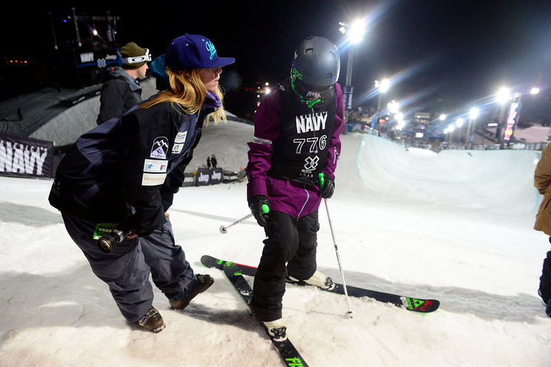 . ASPEN, CO. - JANUARY 24: Elana Chase coaches Annalisa Drew during warmup for the women\'s ski superpipe final. X Games Aspen Buettermilk Mountain Aspen January 25, 2013 (Photo By AAron Ontiveroz / The Denver Post)