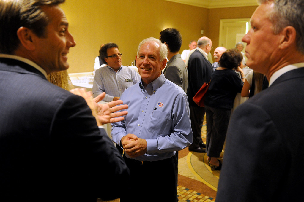 . Torrance mayoral candidate Tom Brewer, center greets supporters at his election night party at the Doubletree Hotel in Torrance, CA on Tuesday, June 3, 2014. (Photo by Scott Varley, Daily Breeze)