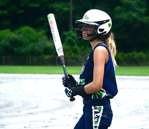 7/28/2018 Mike Orazzi | Staff CT Titans Softball's Jordan Fitzsimons (9) Saturday morning at Sage Park in Berlin.