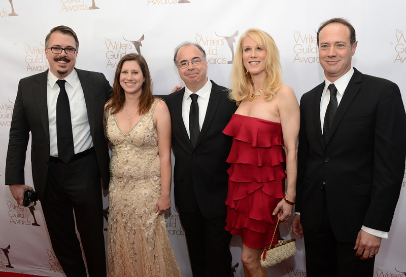 . Writers Vince Gilligan, Gennifer Hutchison, Tom Schnauz, Moira Walley-Beckett and George Mastras arrive at the 2013 WGAw Writers Guild Awards at JW Marriott Los Angeles at L.A. LIVE on February 17, 2013 in Los Angeles, California.  (Photo by Jason Kempin/Getty Images for WGAw)