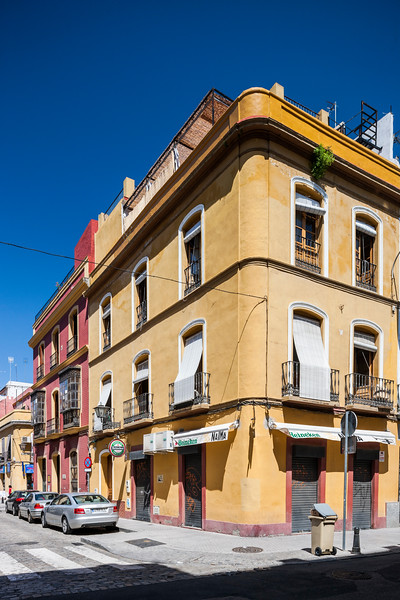 Typical houses, Trajano street, Alameda de Hercules area, Seville, Spain