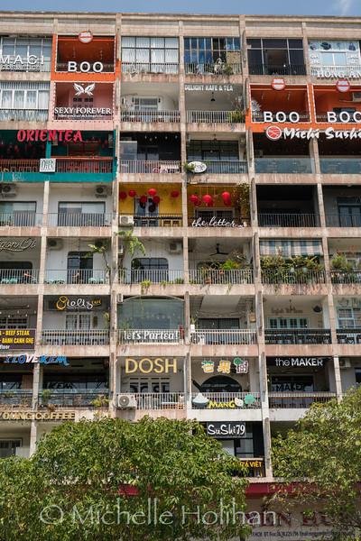 HO CHI MINH CITY, VIETNAM - FEBRUARY 24, 2019: Apartment Cafes from the Saigon Walking Street.
