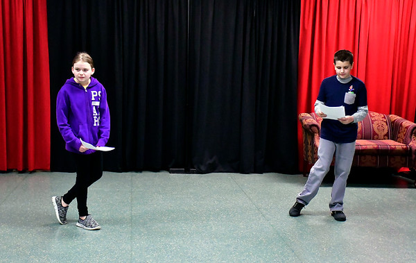 2/16/2019 Mike Orazzi | Staff Audrey Defrancesco and Noah Devanney during a No Boundaries Youth Theater acting class at the New Britain-Berlin YMCA in Berlin Saturday morning.