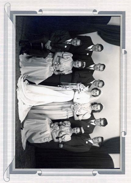 Standing: Ed Grizer, Ed Lytle, Bob Jansen, Alice Jansen, Helen Harsha Cummings Seated: Bill Vissing; Margaret Jansen Lytle; Kathryn Hoff Vissing November 7, 1942