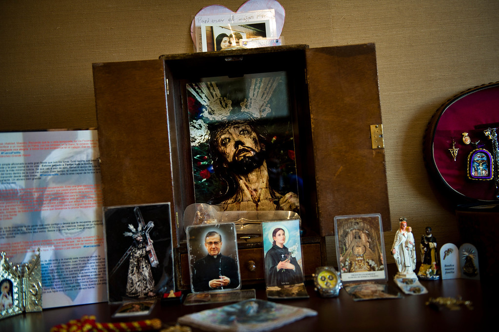 . In this July 1, 2012 photo, Spanish bullfighter Juan Jose Padilla\'s chapel is seen at his hotel room in Soria. This photo is one in a series of images by Associated Press photographer Daniel Ochoa de Olza that won the second place prize for the Observed Portrait series category in the World Press Photo 2013 photo contest.  (AP Photo/Daniel Ochoa de Olza, File)