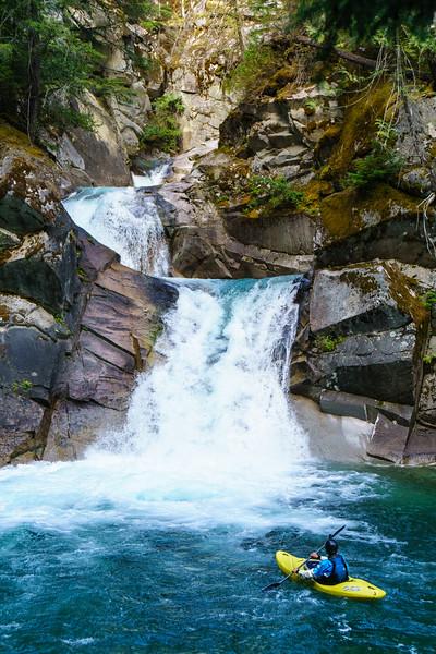Chris Loughran takes in the magical triple drop on Rogers Creek in British Columbia.
