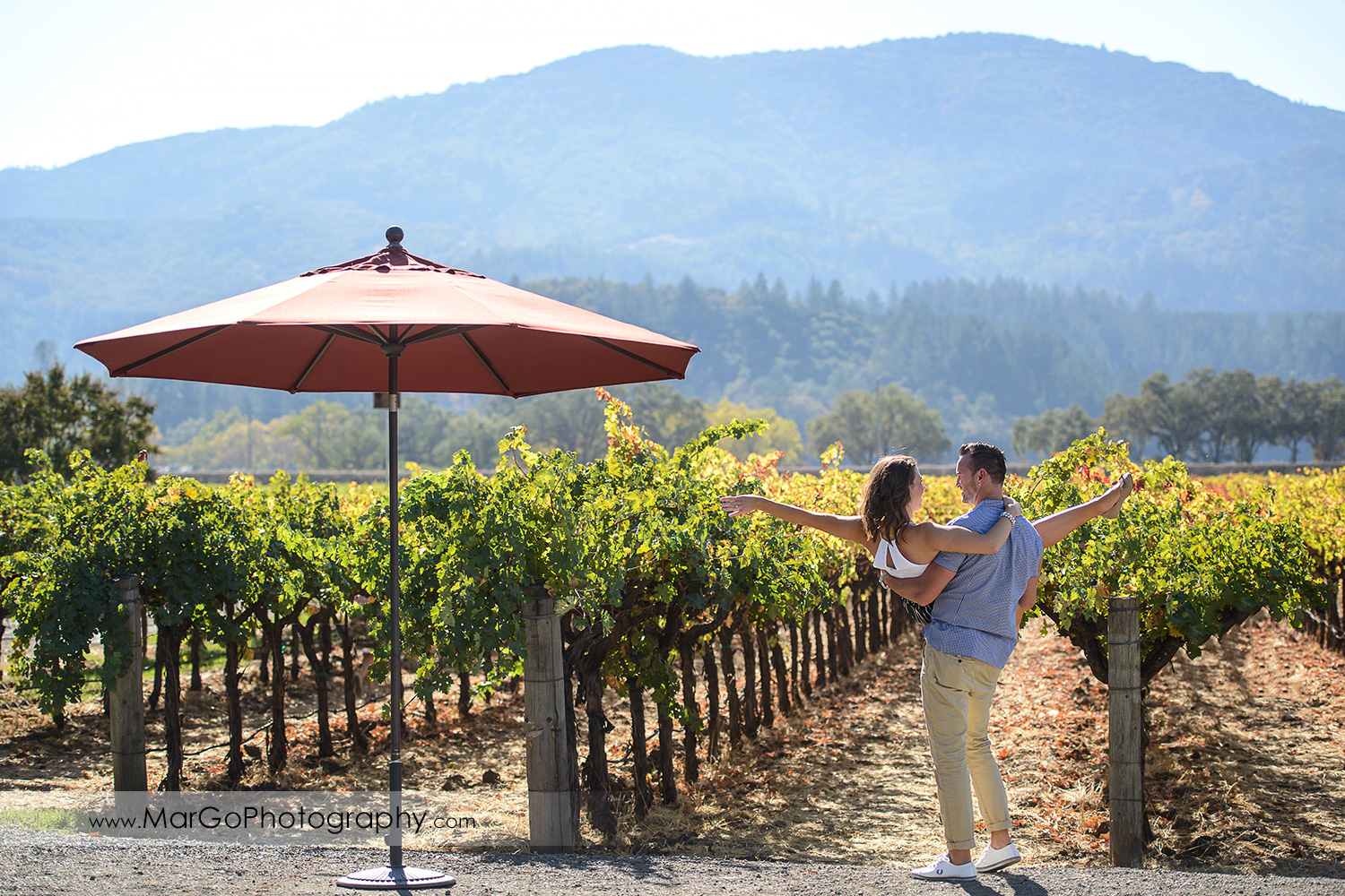 man in blue shirt holding woman in white top in front of vineyard during Napa Valley engagement session at Grgich Hills Estate in Rutherford