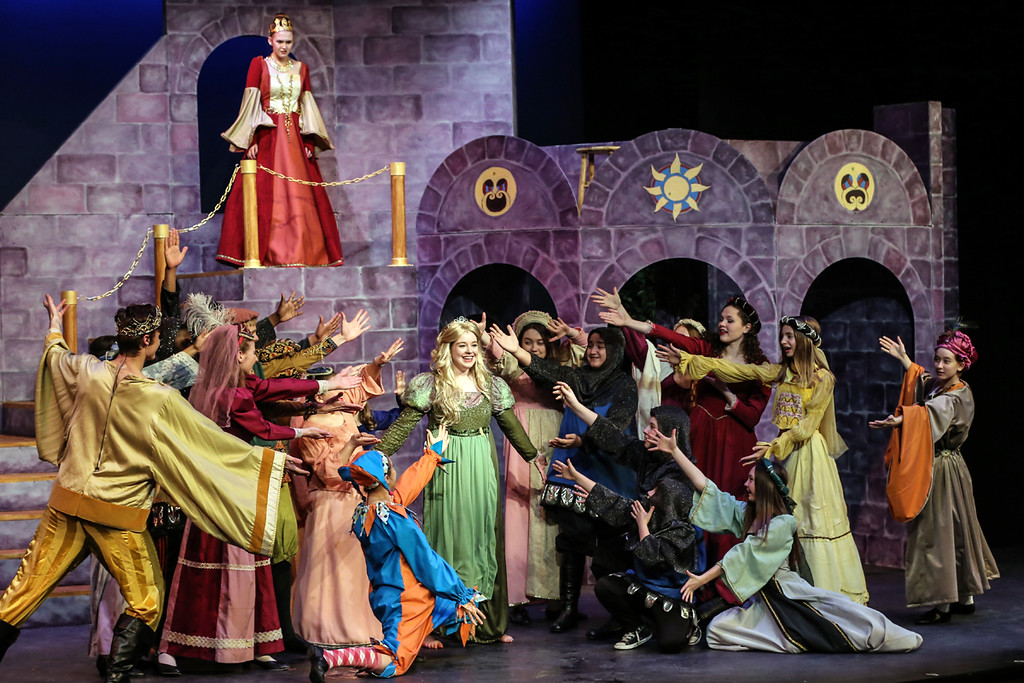 """. Caroline Turner�s Princess Winnifred is the center of attention in the Yarnell Youth Theatre Company production of �Once Upon a Mattress� at the Fine Arts Association in Willoughby. The show continues through April 9. For more information, visit <a href=\""""https://www.fineartsassociation.org/performance/\"""">fineartsassociation.org/performance</a>. (Prelude Photography)"""
