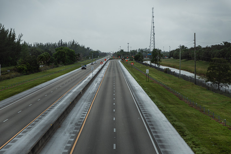 The southbound Florida Turnpike is empty as seen from the Forest Hill Boulevard overpass, after a gas line explosion at Lake Worth Road closed sections of Lake Worth Road and the turnpike, Thursday, September 24, 2020. [JOSEPH FORZANO/palmbeachpost.com]