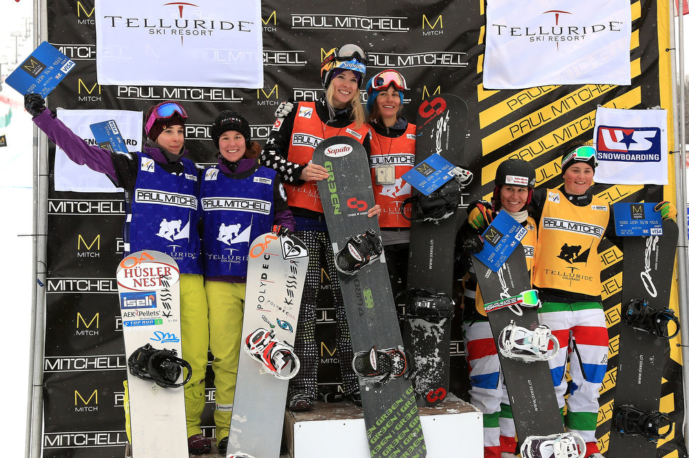 . (L-R) Simona Meiler and Emilie Aubrey of Switzerland in second place, Dominique Maltais and Maelle Ricker of Canada in first place, Raffaella Brutto and Michela Moioli of Italy in third place, take the podium in the USANA Snowboardcross World Cup Team Event on December 15, 2012 in Telluride, Colorado.  (Photo by Doug Pensinger/Getty Images)