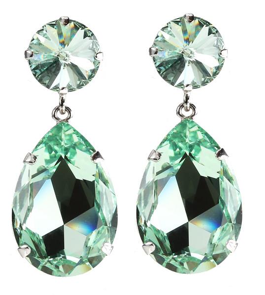 Perfect Drop Earrings / Chrysolite (Rhodium)