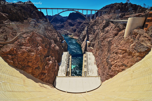 Looking down the 726 foot high Hoover Dam on the Colorado River down the Black Canyon. It took 3.25 million cubic yards of concrete to build the dam, first called Boulder Dam, back in 1935.
