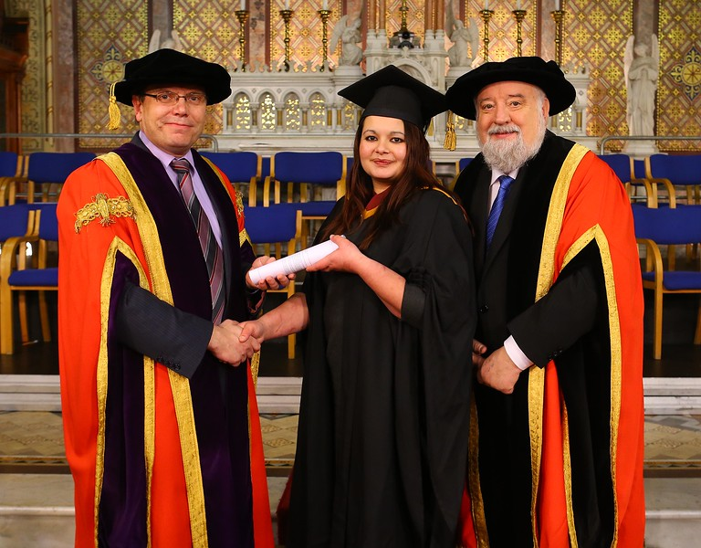 Waterford Institute Of Technology Conferring. Pictured at WIT Waterford Institute Of Technology Conferring is Mary Ann Conway from Waterford who graduated in Failte Ireland Advance Cert in Professional Cookery, also pictured are Dr. Ruaidhrí Neavyn, President, WIT and Jack Walsh, Deputy Chairperson Govering body. Picture: Patrick Browne