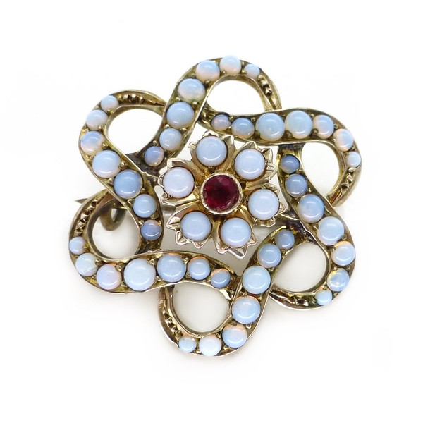 ANTIQUE VICTORIAN SILVER OPALINE GLASS FLORAL BROOCH