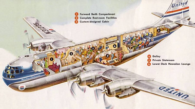 Stratocruiser began life as Boeing C-97 Stratofreighter for military use. After the war it was repurposed as the Boeing 377 Stratocruiser
