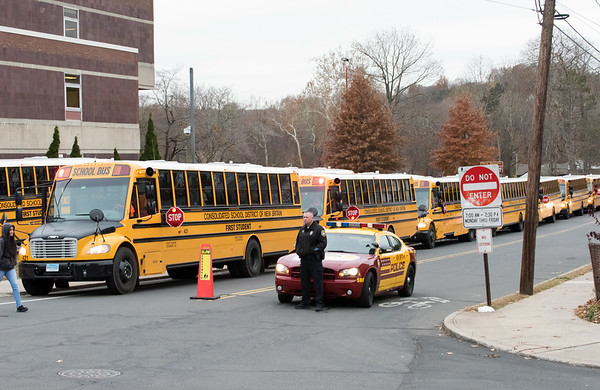 11/15/18 Wesley Bunnell   Staff The upcoming winter storm expected for Thursday night did not affect the schedule at New Britain High School with buses picking up students at their scheduled times.