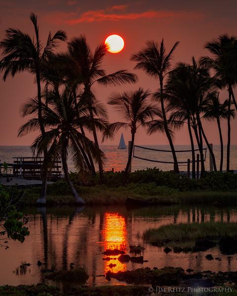 Anaeho'omalu Beach at sunset