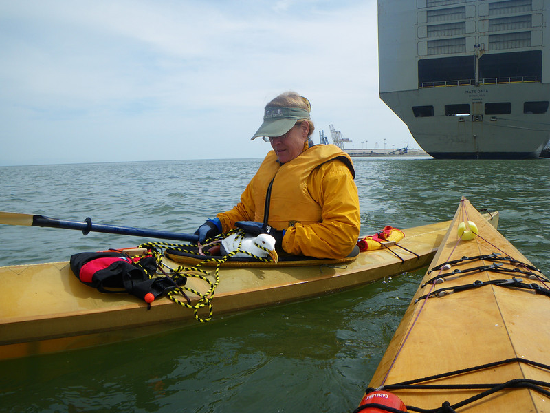 Lyrinda paddled all the way back to Islais Creek with the gull eyeing her every move, and trying to get a nip in.