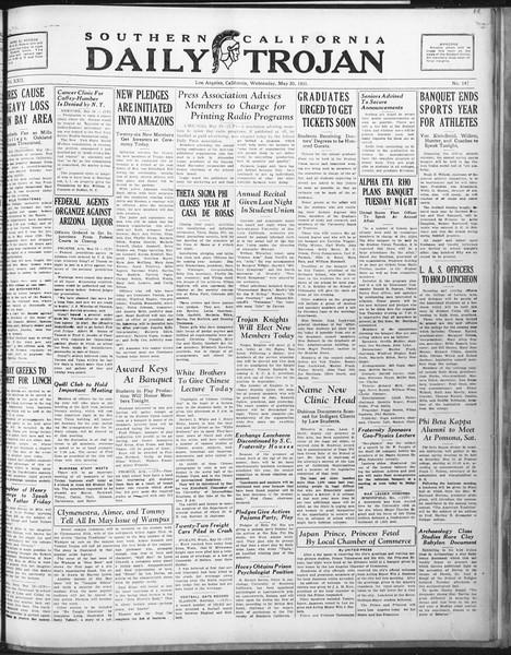 Daily Trojan, Vol. 22, No. 147, May 20, 1931