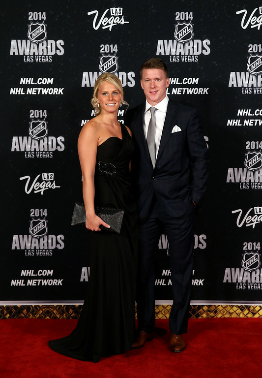 . Ondrej Palat of the Tampa Bay Lightning and guest arrive on the red carpet prior to the 2014 NHL Awards at Encore Las Vegas on June 24, 2014 in Las Vegas, Nevada.  (Photo by Bruce Bennett/Getty Images)