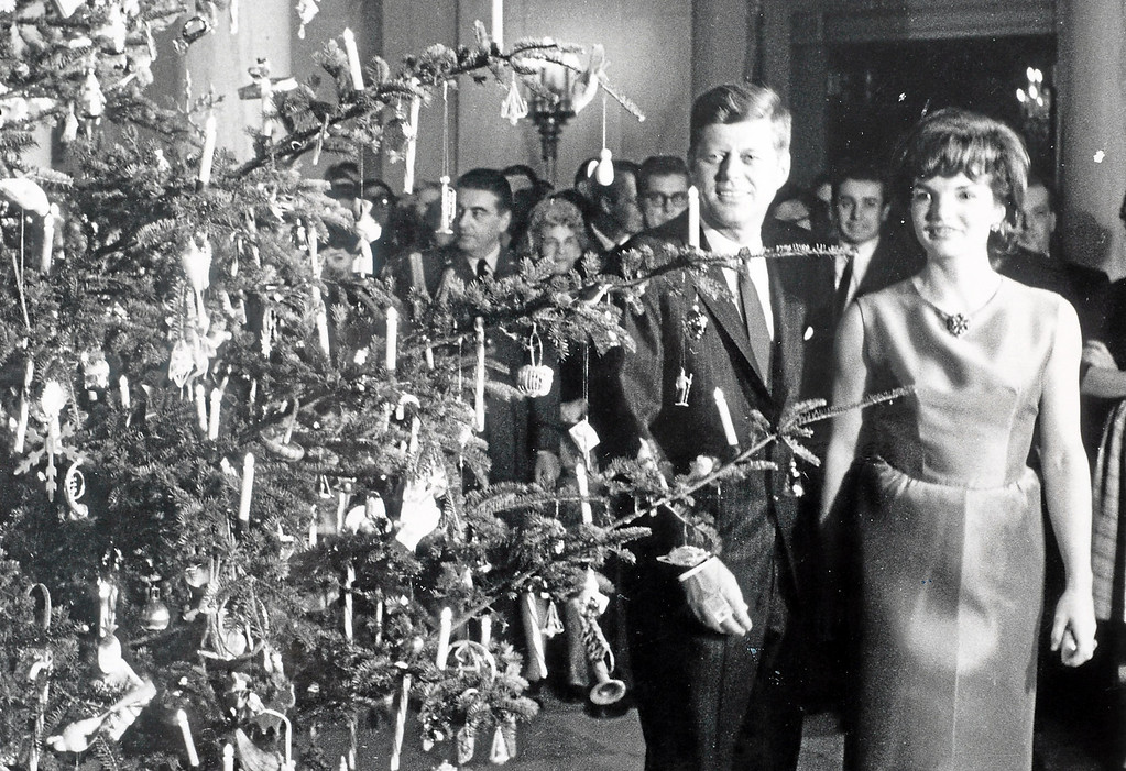. President John F. Kennedy and first lady Jacqueline with the Christmas tree. (Undated photo)
