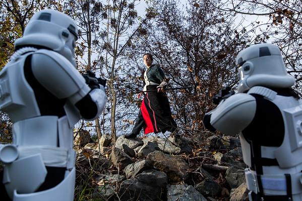 Chirrut Îmwe/Stormtroopers (and Finn)