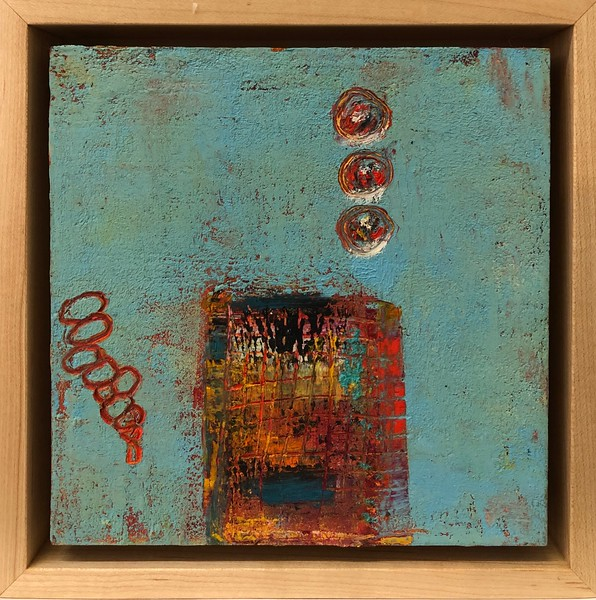 """Oil and cold wax 7"""" x 7"""" framed"""