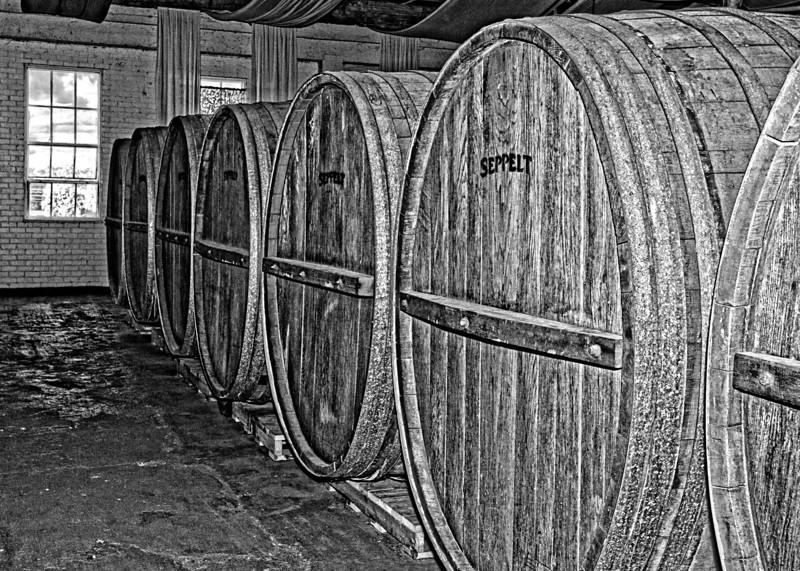 Old wine barrels at Seppelts