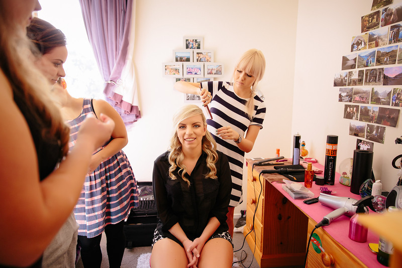 The girls getting ready before the big day