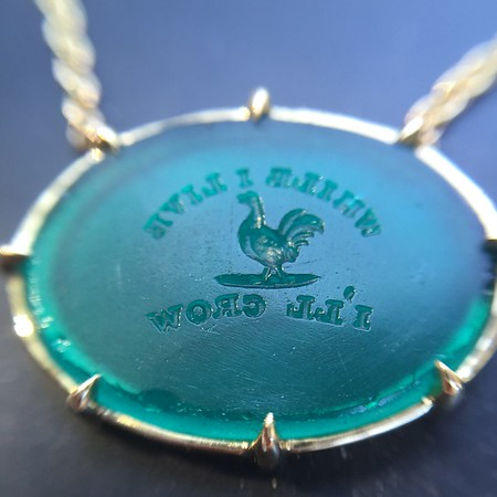 "Green Glass ""I'll Crow"" Necklace Pendant, by Seal & Scribe"