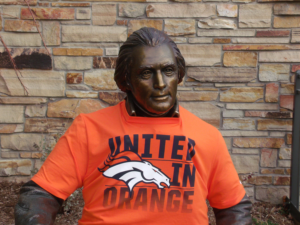 . Tom...The Declaration  Of Independence....and the wearing to the Orange and Blue. Photo by Cynthia Burnett