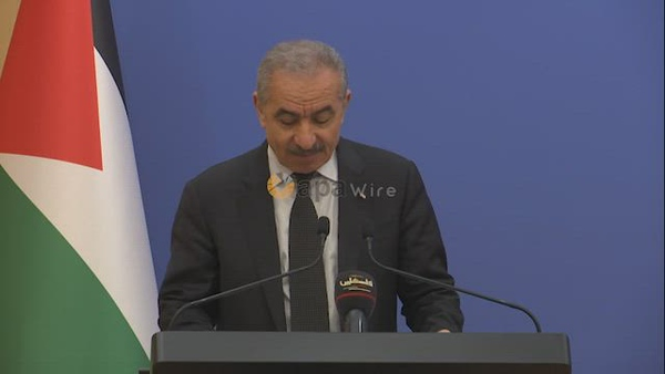 Palestinian Prime Minister Mohammad Ishtayeh, speaks during the weekly meeting of his government