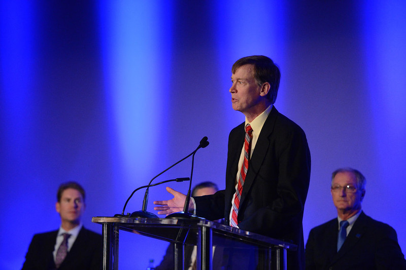 . AURORA, CO. - JANUARY 17:  Colorado Gov. John Hickenlooper speaks at the reopening and remembrance in Theater I, the remodeled theater 9 of the Century Aurora Theater. James Holmes is accused of killing 12 people and wounding 70 others on July 20, 2012 in theater 9. (Photo By RJ Sangosti / The Denver Post)
