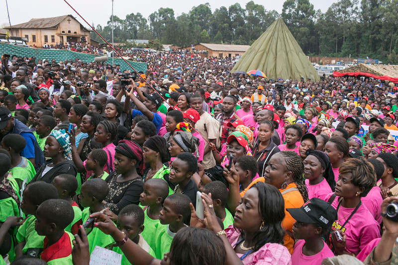". Congolese women attend the global rally ""One Billion Rising\"", which is part of the V-Day event calling for an end to gender-based violence, in Bukavu February 14, 2013. V-Day is a global activist movement to end violence against women and girls. REUTERS/Jana Asenbrennerova"