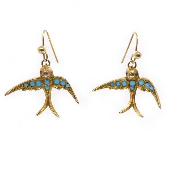 ANTIQUE EDWARDIAN GOLD SWALLOW BIRD BLUE GLASS CABOCHON EARRINGS