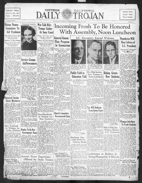 Daily Trojan, Vol. 27, No. 1, September 18, 1935