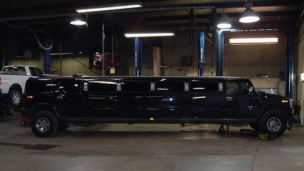 April 11, 2006:  A giant Hummer H2 stretch limo .  .  .