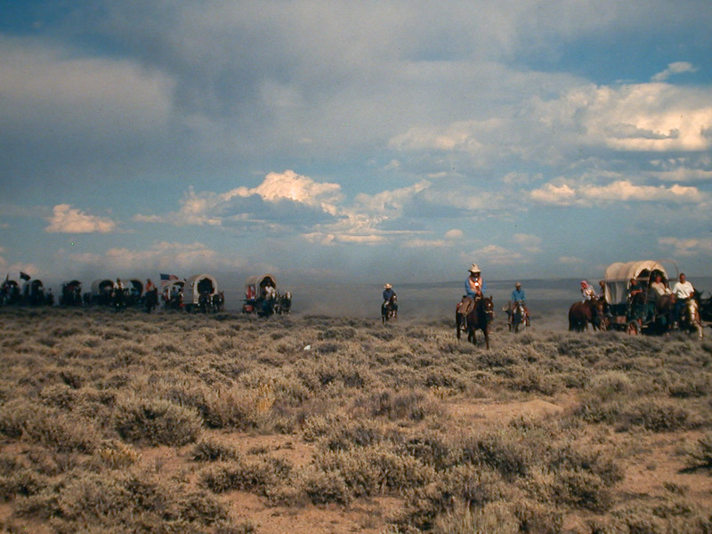 Oregon trail reenactment. Wyoming.