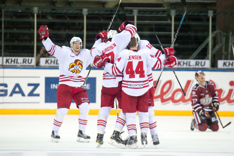 Players of Jokerit celebrate the wining goal in  the KHL regular championship game between Dinamo Riga and Jokerit, played on September 13, 2016 in Arena Riga