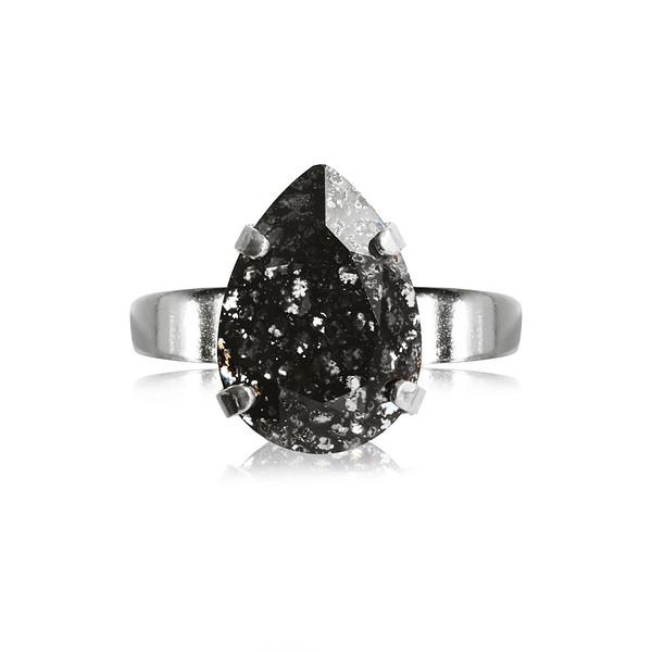 Mini Drop Ring / Black Patina / Rhodium