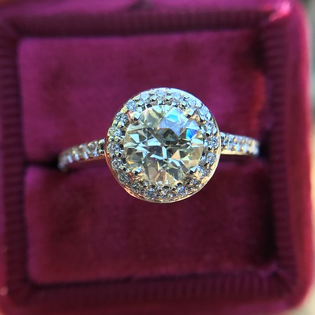 1.19ctw Old European Cut Diamond Halo Ring by A Jaffe
