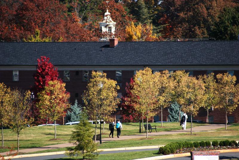 Gardner-Webb University students walking from the Tucker Student Center.