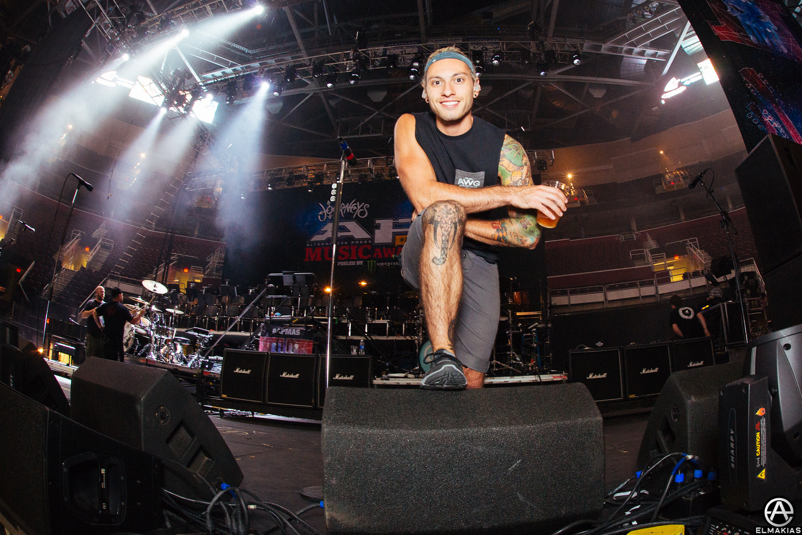 Grieco, All Time Low's drum tech at the APMAs 2015 by Adam Elmakias