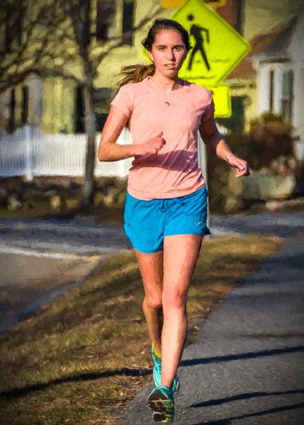 Running girl painted
